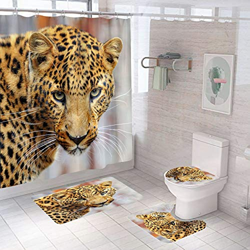 Minyose Duschvorhang Leopard Tier Duschvorhang Set Digitaldruck Polyester Duschvorhang Frei Perforierte Bad Vorhang Trennwand Duschabdeckung 180 * 180Cm