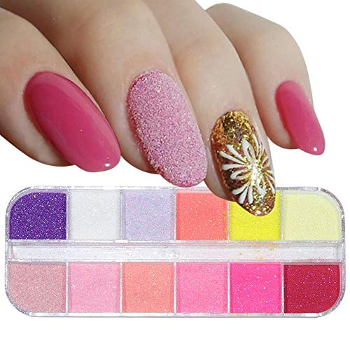 Poudre à ongles,Sucre holographique Glitter Nail Sandy Powder Set Candy Color Dust Pigment Nail Art Décorations 12 Colors-B
