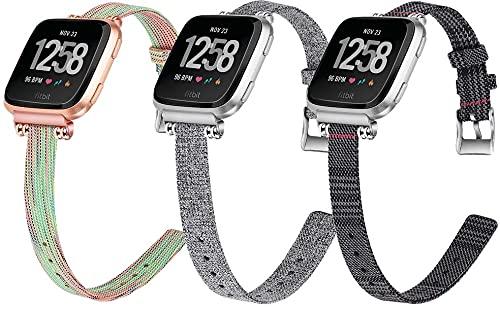 Lienzo Rápida Liberación Reloj de Reemplazo Banda Compatible con Fitbit Versa 2 / Versa 2 SE/Versa...