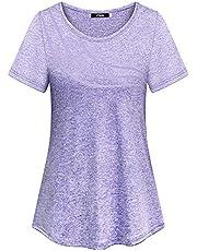 iClosam Dam kortärmad yoga toppar blommig fitness träning t-shirt