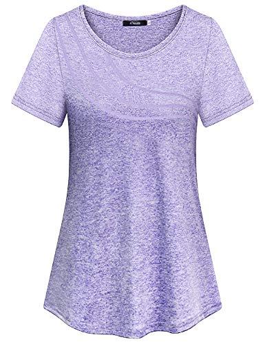iClosam Damen T-Shirt Schnell Trocken Fitness Yoga Top Laufen Funktionsshirt (Helles Lila, XXL)