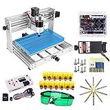 CNC 3018 Pro Max 7W Máquina de grabado láser con husillo de 200 W, Yofuly 2 en 1, marco de aluminio de 3 ejes fresadora con alicates ER11, barra de extensión, fresa
