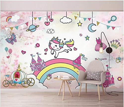 Fotomurales Decorativos Pared Vinilos Decorativos Papel Fotografico 3D Pared De Fondo Acuarela Unicornio Papel Pintado Cuadros Habitacion Bebe Posters Mural Pared