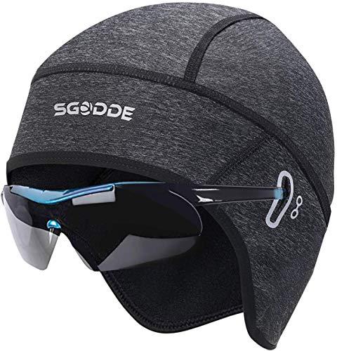 SGODDE Fahrrad Mütze Caps, Warm Winddichte Wintermütze für Herren Damen Helm-Unterziehmütze,dehnbarer Kopfwärmer für Outdoor-Sportmütze Radfahren Laufen Skifahren Motorradfahren Snowboarden (Grau)