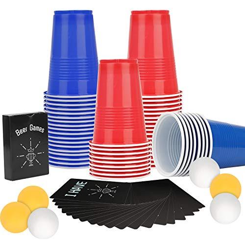 Colmanda Beer Pong Becher, Partybecher Trinkspiel Set mit 60 Bechern und 6 Bällen und 54 Karten, Bier Pong Cups Party Trinkbecher Partybecher für Weihnachten Geburtstag Festivals Hochzeit