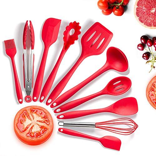 Utensilios Cocina de Silicona,KagoLing 10 Piezas Juego de Utensilios de Cocina Resistentes al Calor y Antiadherentes con Mango de para Utensilios
