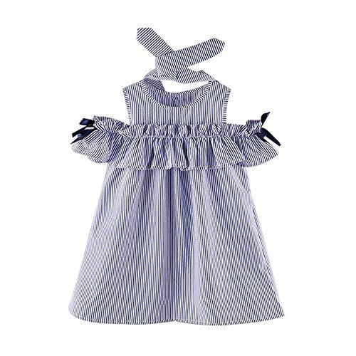 Weant Baby Kleidung Mädchen Outfits Röcke Schulterfrei Streifen Bowknot Prinzessin Partykleid Sommerkleid Prinzessin Kleid Kinder Kleider Baby Bekleidungssets Neugeborenen Bekleidungset