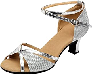 Dames glitter visschubbenpatroon Latin dansschoenen hoge hak peep toe riempjessandalen zomer outdoor sandalen