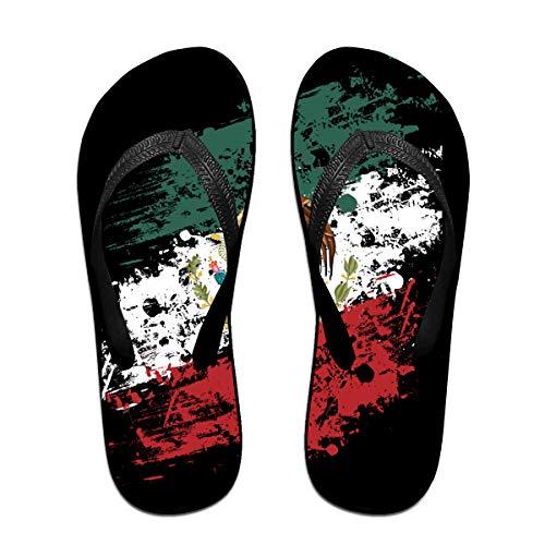 Iop 90p Mexikanische amerikanische Flagge Flip Flops Hausschuhe Strand Sandalen Pool Schuhe, PVC, Schwarz, Large