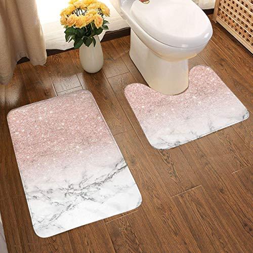 Badezimmerteppich-Set, modern, Roségold, Rosa, Glitzer, Weiß, Marmor, weich, rutschfest, Badvorleger, 48 x 80 cm, U-förmig, wasserabsorbierend, 2 Stück