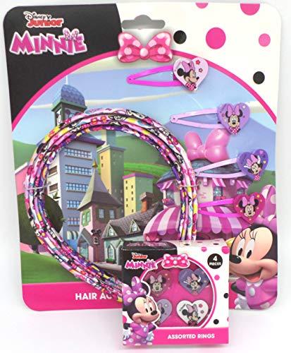 TDL Disney Minnie Mouse Geschenkset 4 Ringe + 4 Haarreifen + 4 Haarklips - Offiziell Lizensiert - 4 Rings + 4 Head Bands + 4 Hair Clips - Gift Bundle