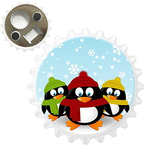 Noël Vacances Saison pingouins Décapsuleur Aimant de réfrigérateur, 3 Penguins Wrapped Up Warm, Bottle Opener