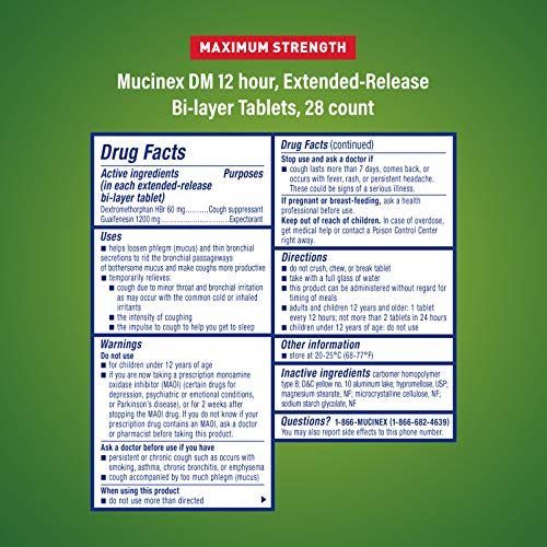 Cough Suppressant and Expectorant, Mucinex DM Maximum Strength 12 Hour Tablets, 28ct, 1200 mg Guaifenesin, Relieves Chest Congestion, Quiets Wet and Dry Cough, #1 Doctor Recommended OTC expectorant