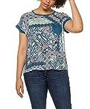 Ulla Popken Große Größen Shirt Mit Brusttasche Und Gepatchten Prints, Oversized Camiseta, Turquesa (Azul océano 72729874), 58-60 para Mujer