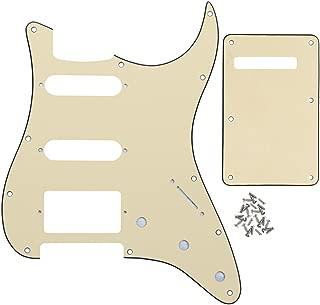 IKN 3Ply Cream 11 hole Strat HSS Pickguard Guitar Back Plate with Screws Set for Standard Strat Modern Style Guitar Part