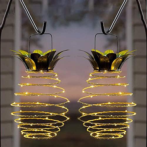 Paquete de 2 farolillos solares para colgar al aire libre, luz de paisaje de jardín, linterna solar de piña...