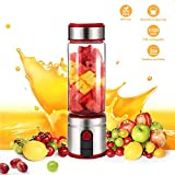 Cesun Portable Personal Size Blender, Smoothie Stainless Steel Blender Cordless w/ 15 oz Glass Bottle, 5100mAh USB Rechargable Juicer BPA Free (Red)