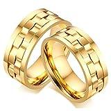 Bishilin Mode Paarepreis Edelstahlring für Herren Homosexuelle Hochglanzpoliert Spinner Breite 9MM Eherring Trauring Gold Ringe Größe 52 (16.6) & Größe 60 (19.1)