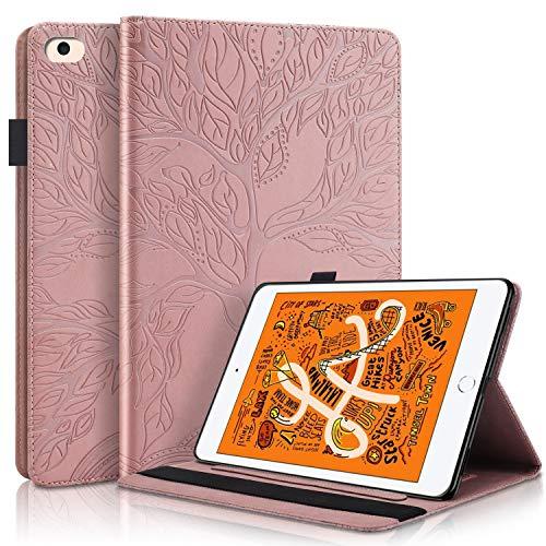 Pefcase iPad Mini 7.9 inch Case for ipad Mini 1th/2th/3th/4th/5th Generation Cover, Multi-Angle Viewing Folio Smart Leather Cover for Apple iPad Mini 7.9 inch Case Life Tree - Rose Gold