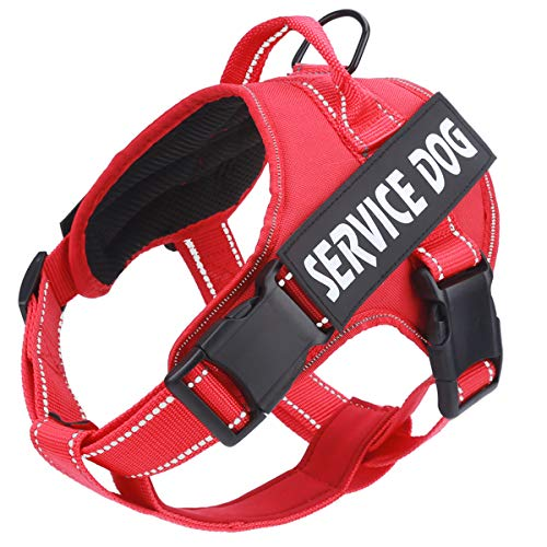 Service Dog Harness, No Pull Dog Harnesses with Handle - Breathable and Easy Adjust Dog Walking Vest for Small Medium Large Dogs - No More Pulling, Tugging or Choking (with 2 Removable Patches)