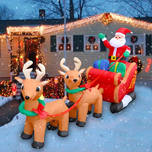 SEASONBLOW 8 Ft LED Inflatable Christmas Reindeer Pull The Sleigh Take Santa Claus Xmas Decoration for Yard Lawn Garden Home Party Indoor Outdoor