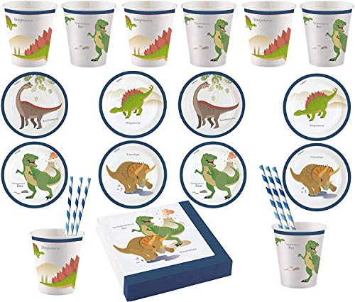 Libetui 48 Teile Set Geschirr Dino Party Kindergeburtstag Dinosaurier Teller Becher Servietten Dinoparty Prehistoric Party für bis zu 8 Kinder