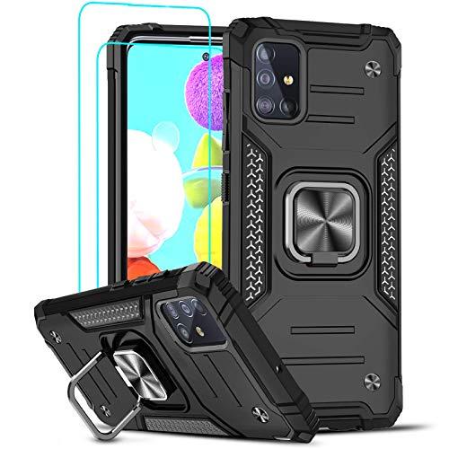 LeYi Funda para Samsung Galaxy A51 (no para 5G) Armor Carcasa con [2 Unidades] Cristal Templado, Cover con 360 Grados Magnetic Anillo PC y Silicona TPU Bumper antigolpes Case para Samsung A51, Negro