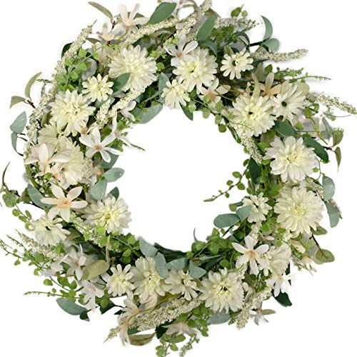 Bibelot 18 inch Artificial Chrysanthemum Flowers Wreath Silk Colourful Daisy Wreath Fake Flowers with Green Leaves Wreath Spring Summer Wreath for Front Door Home Wedding Office Party Decor