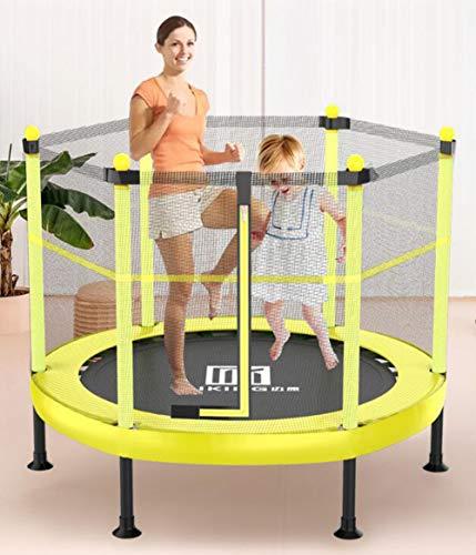 YUMO Children'S Garden Trampoline with Safety Mesh Edge, 100-150 Kg, Non-Foldable,Yellow,154cm