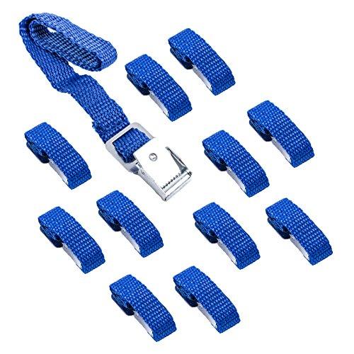 Set de 12 sangles de fixation pour vélo bretelles Bleu 40 cm Métal Boucles