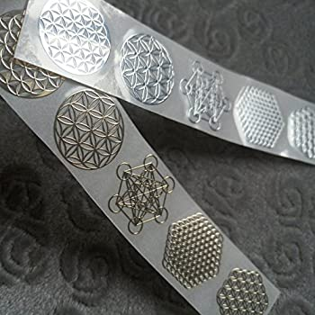 MetalArtern Flower of Life Gold and Chrome Silver Small Metal Sticker for Mobile Phone DIY  Gold