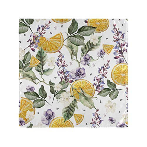 Lavender Flowers And Lemon Cloth Napkins,Reusable Washable Dinner Table Napkins Set of 4,Soft & Comfortable Polyester Napkins for Christmas/Thanksgiving Dinners,Weddings & Cocktail Parties.20 x 20 in