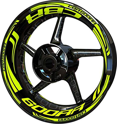 Motocicleta Moto Llanta Inner Rim Tape Decal Pegatinas F2 para Honda CBR 600 RR CBR600RR 600RR (Fluo 2)