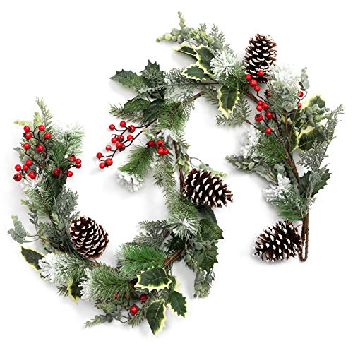 BEJOY Artificial Christmas Garland for Christmas Festival, 153cm long Pine Cone Frosted Garland with Deer Antlers, Red Berries Indoor Outdoor Garden Gate Home Decor