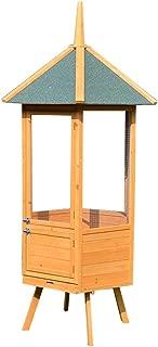 TIAN Wooden Aviary Hexagonal House Bird Cage Outdoor Rainproof Bird Nest Large Fine Net Bird with Feed Door, Perch,Trays