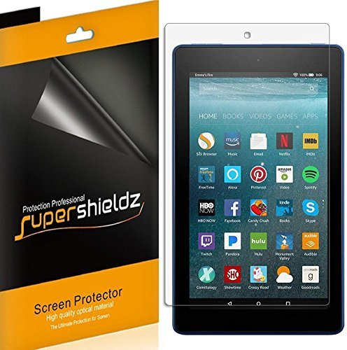 Supershieldz (3 Pack) for All New Fire HD 8 Tablet 8 inch (8th and 7th Generation, 2018, 2017 Release) Screen Protector, High Definition Clear Shield (PET)