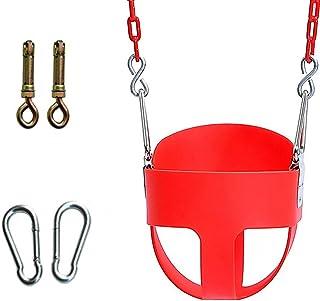 Barngunga utomhus, barngunga bebis, High Back Full Full Bucket småbarnsgunga set med plast-gungkedja mot repor (grön), röd