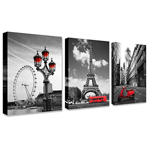 Black and white red city landscape- Paris Eiffel Tower Wall Art Decor Canvas Print red motorcycle street view and ferris wheel Painting Modern Home Decoration 12'x16' x3 Panels Romantic Artwork