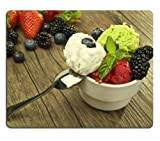 Ice Cream Assorted Beads Spoon Berries Blueberries Blackberries Strawberries Dessert Mouse Pads Customized Made to Order Support Ready 9 7/8 Inch (250mm) X 7 7/8 Inch (200mm) X 1/16 Inch (2mm) Eco Friendly Cloth with Neoprene Rubber Liil Mouse Pad Desktop Mousepad Laptop Mousepads Comfortable Computer Mouse Mat Cute Gaming Mouse pad