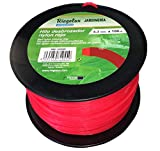 Riegolux 107699 Fil Débroussailleuse Nylon Carré Rouge 3.3 mm x 100 m