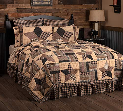 VHC Brands Bingham Star Twin Quilt 70Wx90L Country Patchwork Design, Soft Black and Tan
