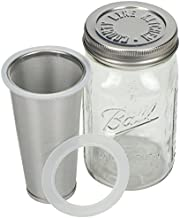 Cold Brew Mason Jar Coffee Maker by County Line Kitchen - 1 Quart, 32 oz – Durable Glass Jar, Heavy Duty Stainless Steel Filter, Stainless Steel Lid, Save $ - Easily Make Your Own Cold Brew