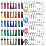 1 juego de colgantes coloridos de borla de acrílico en blanco discos redondos transparentes para hacer joyas, pintura, mesas de río y etc.