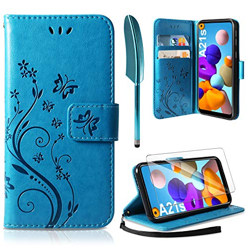 AROYI Lederhülle Kompatibel mit Samsung Galaxy A21s Hülle und Schutzfolie, Flip Wallet Handyhülle PU Leder Tasche Case Kartensteckplätzen Schutzhülle Kompatibel mit Samsung Galaxy A21s