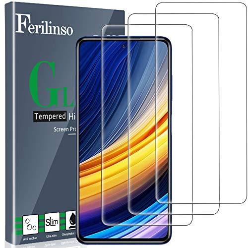 Ferilinso [3 Piezas] Protector de Pantalla Cristal Templado Xiaomi Poco X3 Pro/Xiaomi Mi 10T Lite/Mi 10T/10T Pro 5G/Xiaomi Poco X3 NFC/Redmi Note 9S/Note 9 Pro Compatibile Funda