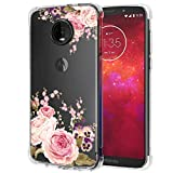Ueokeird Moto Z3 Case, Moto Z3 Play Case with Flowers, Slim Shockproof Clear Floral Pattern Soft Flexible TPU Back Phone Protective Cover for Motorola Moto Z3 (Rose Flower)