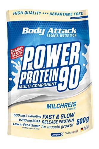 Body Attack Power Protein 90, Milchreis, 500g, 5K Eiweißpulver mit Whey-Protein, L-Carnitin und BCAA für Muskelaufbau und Fitness