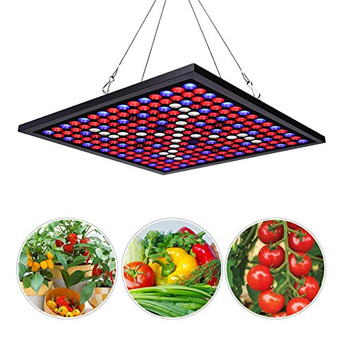 Corayer 45W LED Grow Light Panel, Vollspektrum Pflanzenlampe Reflector 225 LEDs 6-Band Grow Lamp Include UV & IR mit Switch für Zimmerpflanzen,Gemüs