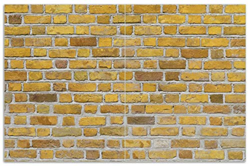 Wallario Herdabdeckplatte/Spritzschutz aus Glas, 2-teilig, 80x52cm, für Ceran- und Induktionsherde, Motiv Ziegelsteinwand in gelb - Backsteine