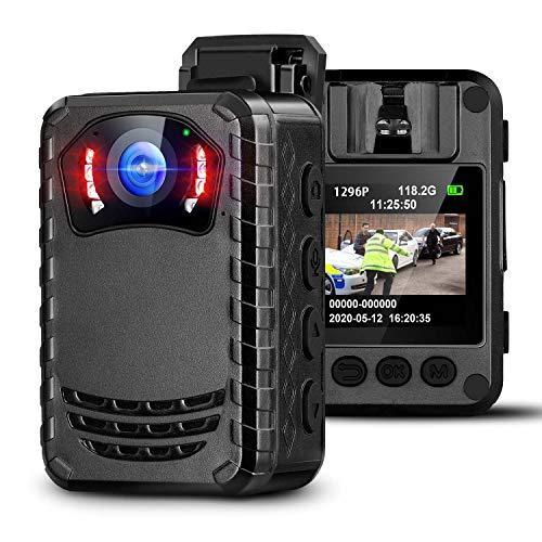 BOBLOV N9 Mini Cámara del Cuerpo para Policía, Cámara Espía Pequeña Portátil con Visión Nocturna Full HD 1296P para Aplicación de la Ley(No Incluye Tarjeta SD)